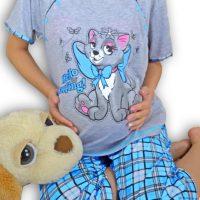 Kismama és Szoptatós Pizsama Kék Cica